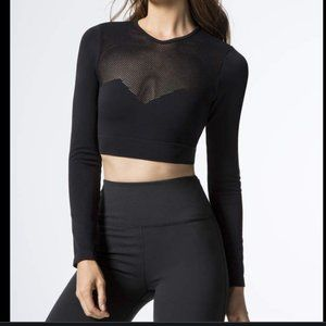 VARLEY Crescent Black Crop Long Sleeve Top sz S